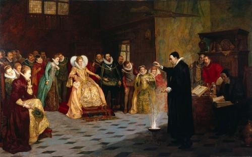John Dee fent un experiment davant la reina Elizabeth I, John Gillard Glindoni (1913). Tant a l'edat mitjana com a l'edat moderna la creença en la màgia no entrava en contradicció amb la ciència. John Dee va ser un cèlebre mag anglès que també era matemàtic, astrònom, astròleg i alquimista