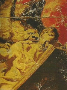 Representació de Sant Joan evangelista en què el pintor Josep Maria Sert mostra com l'àguila li transmet el seu missatge