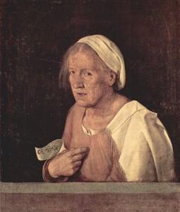 La vella, Giorgione (1509). Entre les dones encausades per bruixes trobem dones de classe humil, moltes ancianes i vídues, guaridores, llevadores, cuineres i mainaderes