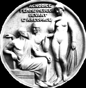 Medalló que representa Agnòdice, es va fer a principis del segle XX, junt amb altres que representen metges grecs, per decorar la façana de la Facultat de Medicina de París