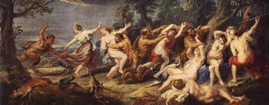 Diana i les seves nimfes sorpreses pels faunes, Rubens (1639-40)